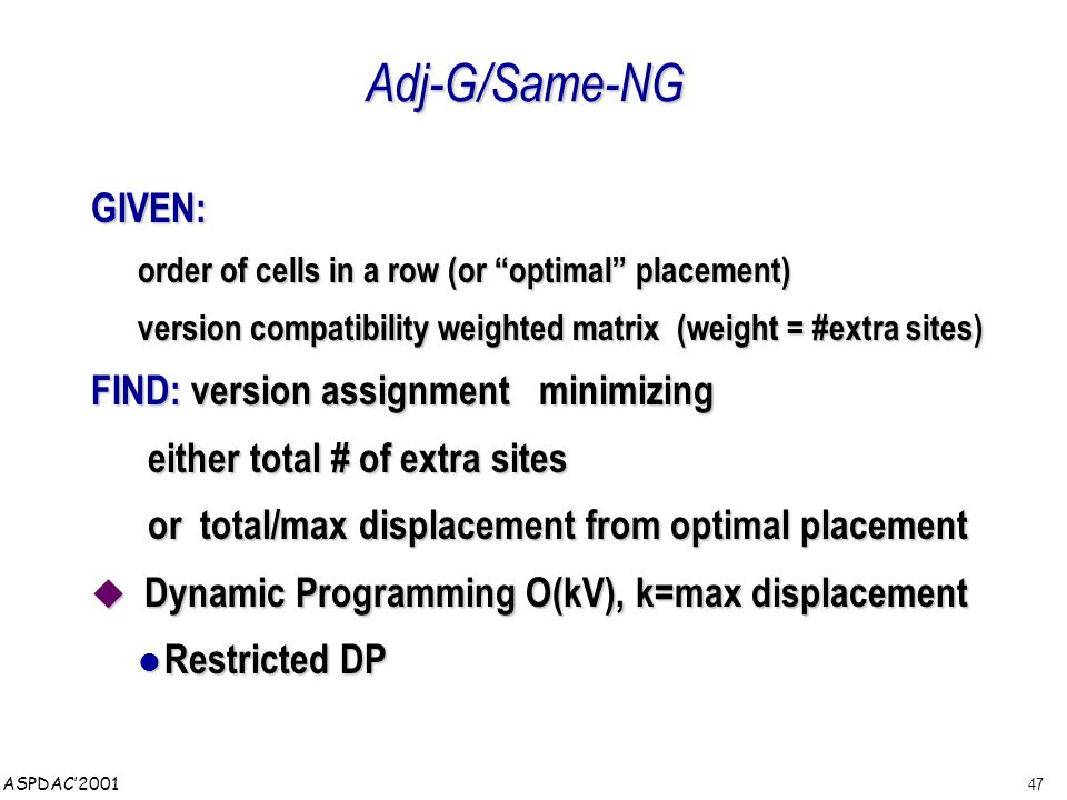 47 ASPDAC'2001 Adj-G/Same-NG GIVEN: order of cells in a row (or optimal placement) version compatibility weighted matrix (weight = #extra sites) FIND: version assignment minimizing either total # of extra sites either total # of extra sites or total/max displacement from optimal placement or total/max displacement from optimal placement  Dynamic Programming O(kV), k=max displacement Restricted DP Restricted DP