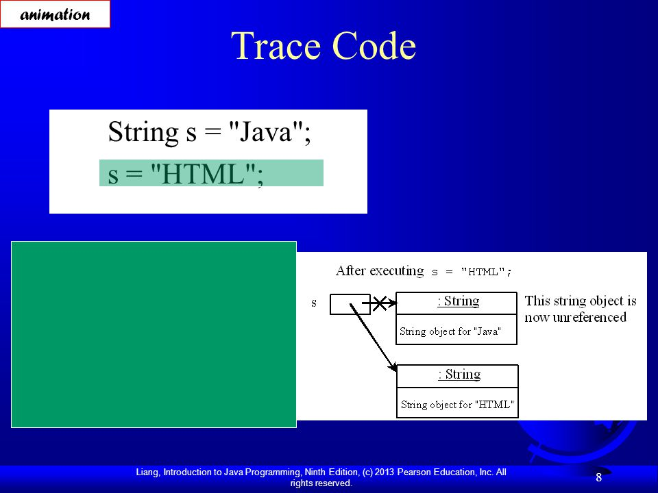 Liang, Introduction to Java Programming, Ninth Edition, (c) 2013 Pearson Education, Inc. All rights reserved. 8 Trace Code String s =