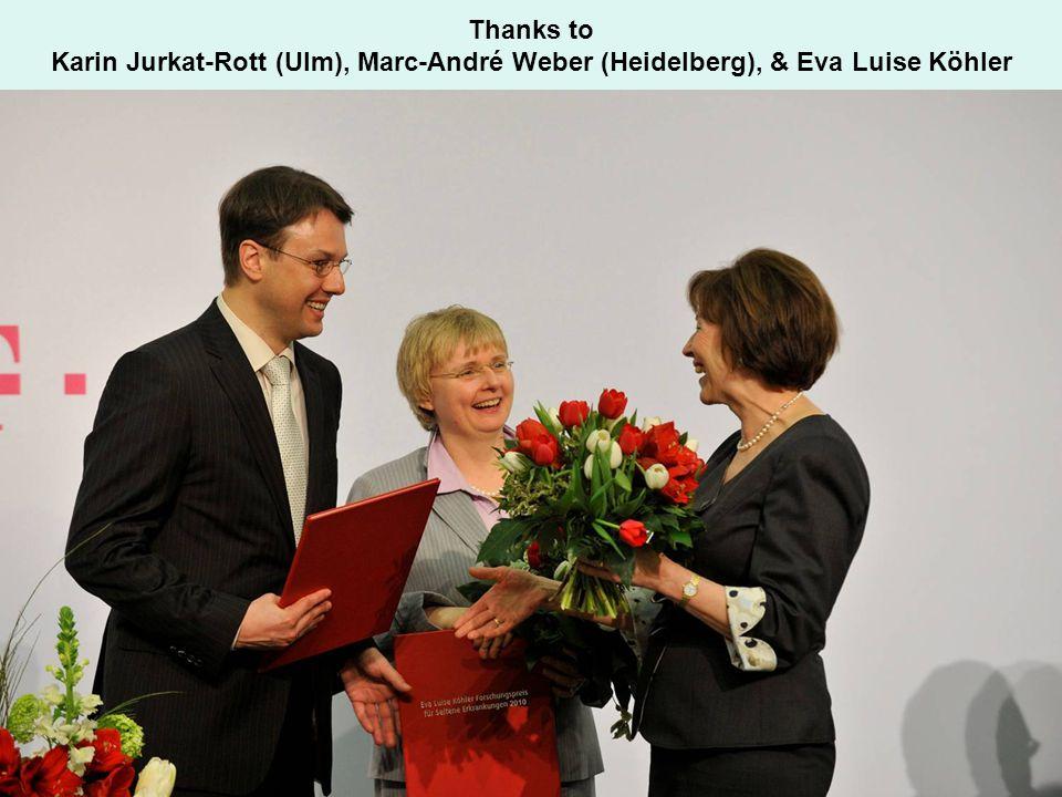 Thanks to Karin Jurkat-Rott (Ulm), Marc-André Weber (Heidelberg), & Eva Luise Köhler
