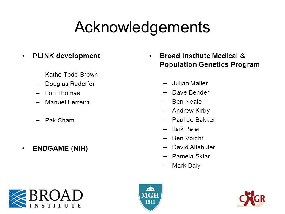 Acknowledgements Broad Institute Medical & Population Genetics Program –Julian Maller –Dave Bender –Ben Neale –Andrew Kirby –Paul de Bakker –Itsik Pe'