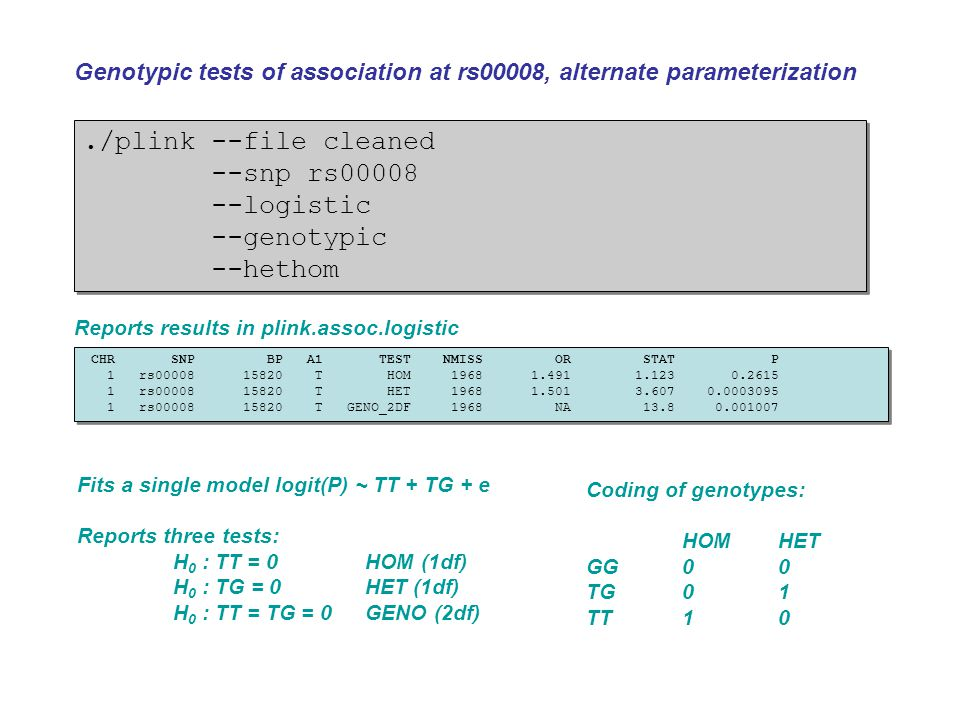 ./plink --file cleaned --snp rs00008 --logistic --genotypic --hethom./plink --file cleaned --snp rs00008 --logistic --genotypic --hethom Genotypic tes