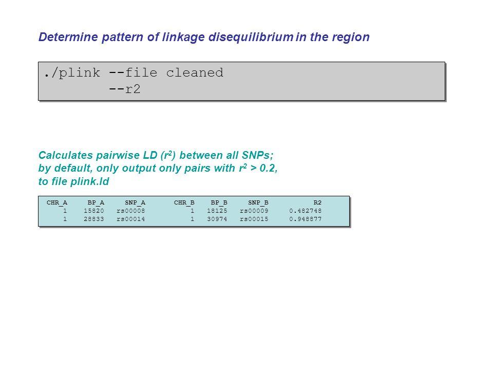 ./plink --file cleaned --r2./plink --file cleaned --r2 Determine pattern of linkage disequilibrium in the region CHR_A BP_A SNP_A CHR_B BP_B SNP_B R2