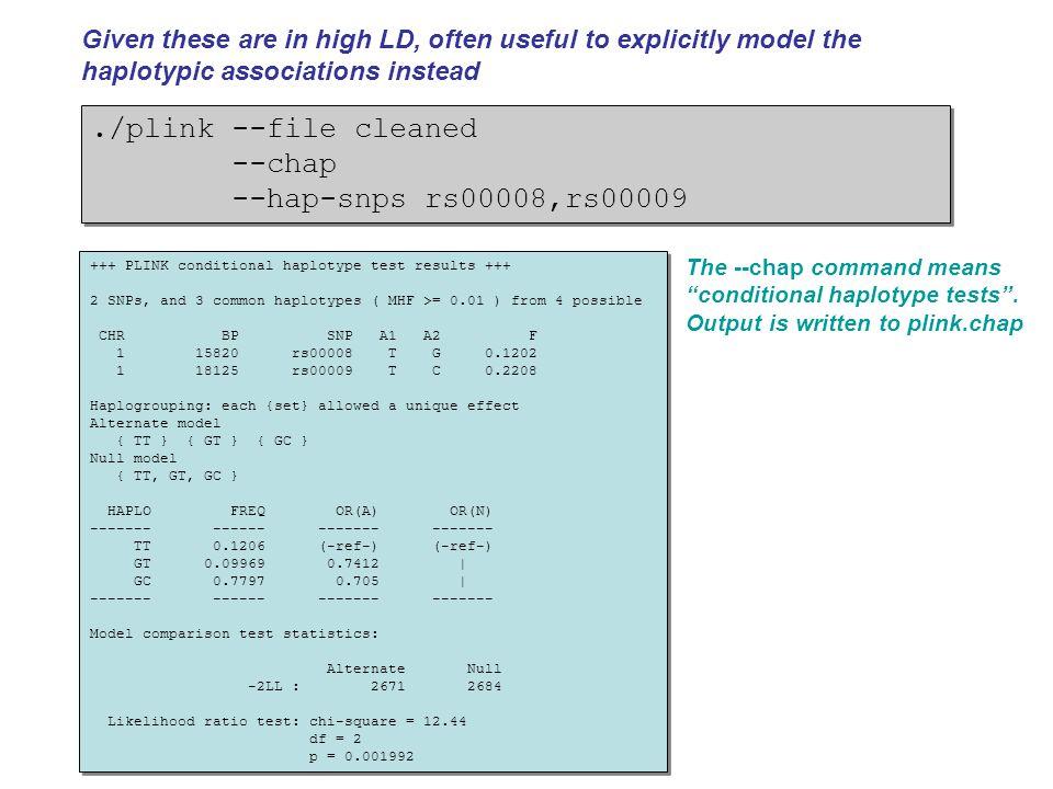 ./plink --file cleaned --chap --hap-snps rs00008,rs00009./plink --file cleaned --chap --hap-snps rs00008,rs00009 +++ PLINK conditional haplotype test