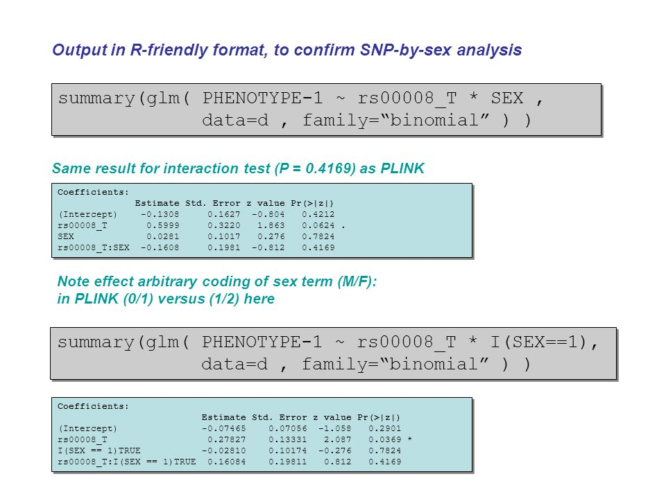 """summary(glm( PHENOTYPE-1 ~ rs00008_T * SEX, data=d, family=""""binomial"""" ) ) summary(glm( PHENOTYPE-1 ~ rs00008_T * SEX, data=d, family=""""binomial"""" ) ) Ou"""