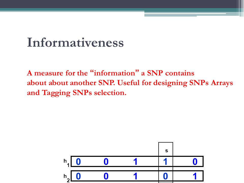 """Informativeness A measure for the """"information"""" a SNP contains about about another SNP. Useful for designing SNPs Arrays and Tagging SNPs selection. 0"""