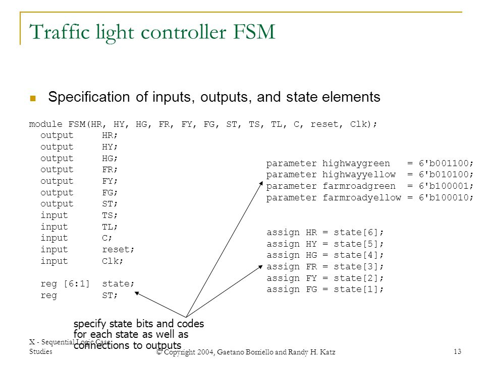 X - Sequential Logic Case Studies © Copyright 2004, Gaetano Borriello and Randy H. Katz 13 module FSM(HR, HY, HG, FR, FY, FG, ST, TS, TL, C, reset, Cl