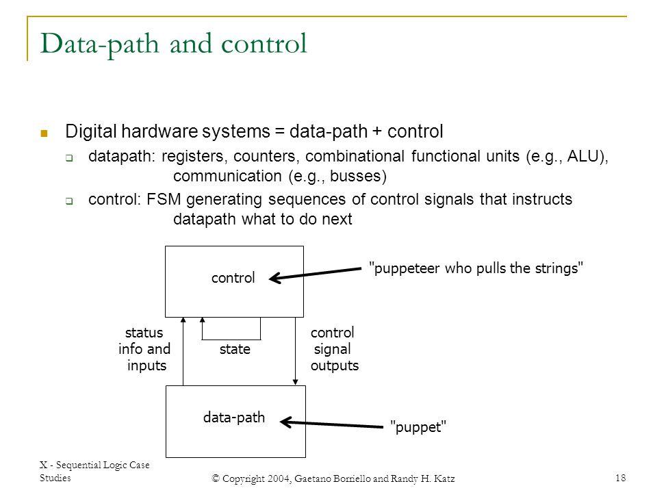 X - Sequential Logic Case Studies © Copyright 2004, Gaetano Borriello and Randy H. Katz 18
