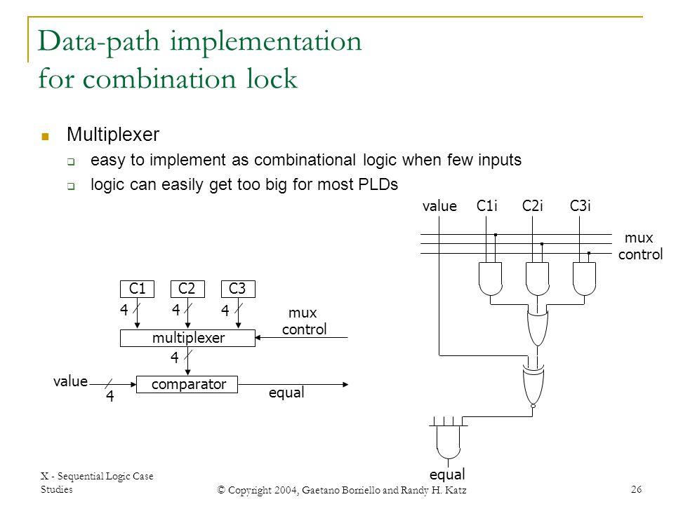X - Sequential Logic Case Studies © Copyright 2004, Gaetano Borriello and Randy H. Katz 26 C1C2C3 comparator equal multiplexer mux control 4 44 4 4 va