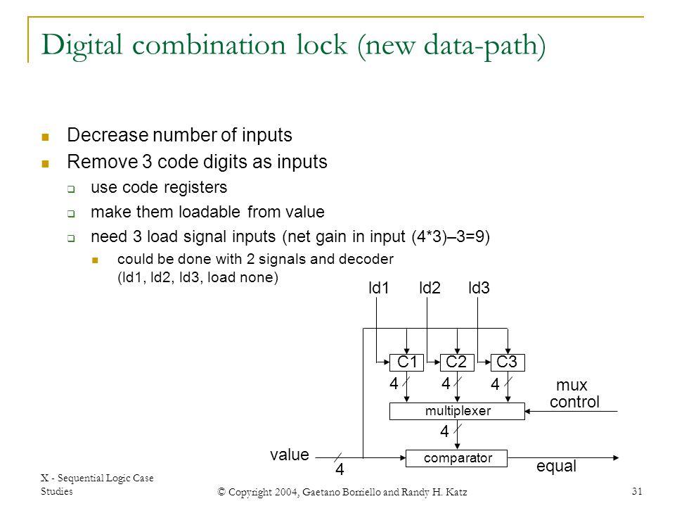 X - Sequential Logic Case Studies © Copyright 2004, Gaetano Borriello and Randy H. Katz 31 C1C2C3 comparator value equal multiplexer mux control 4 44