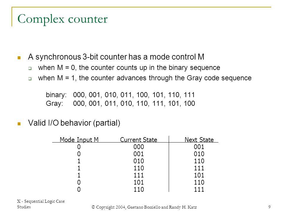 X - Sequential Logic Case Studies © Copyright 2004, Gaetano Borriello and Randy H. Katz 9 Mode Input M 0 1 0 Current State 000 001 010 110 111 101 110