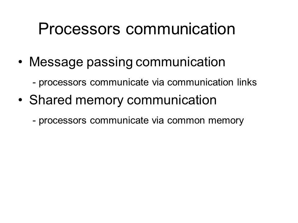 Processors communication Message passing communication - processors communicate via communication links Shared memory communication - processors commu