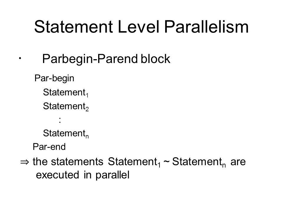 Statement Level Parallelism ・ Parbegin-Parend block Par-begin Statement 1 Statement 2 : Statement n Par-end ⇒ the statements Statement 1 ~ Statement n