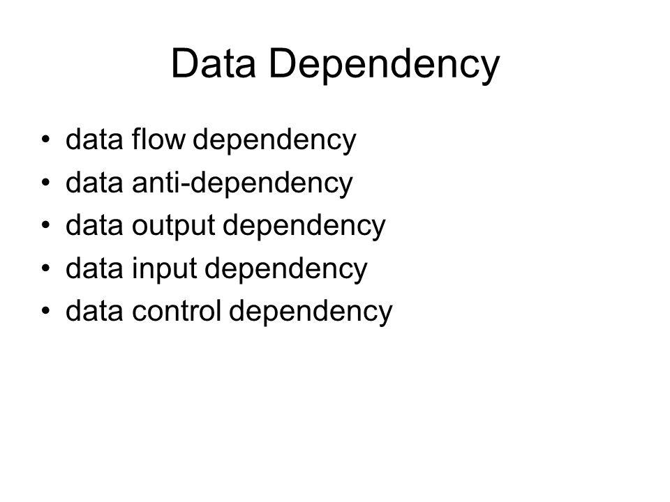 Data Dependency data flow dependency data anti-dependency data output dependency data input dependency data control dependency