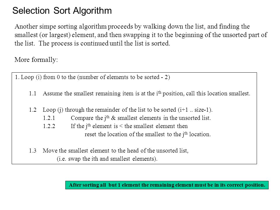 Selection Sort Algorithm 1.