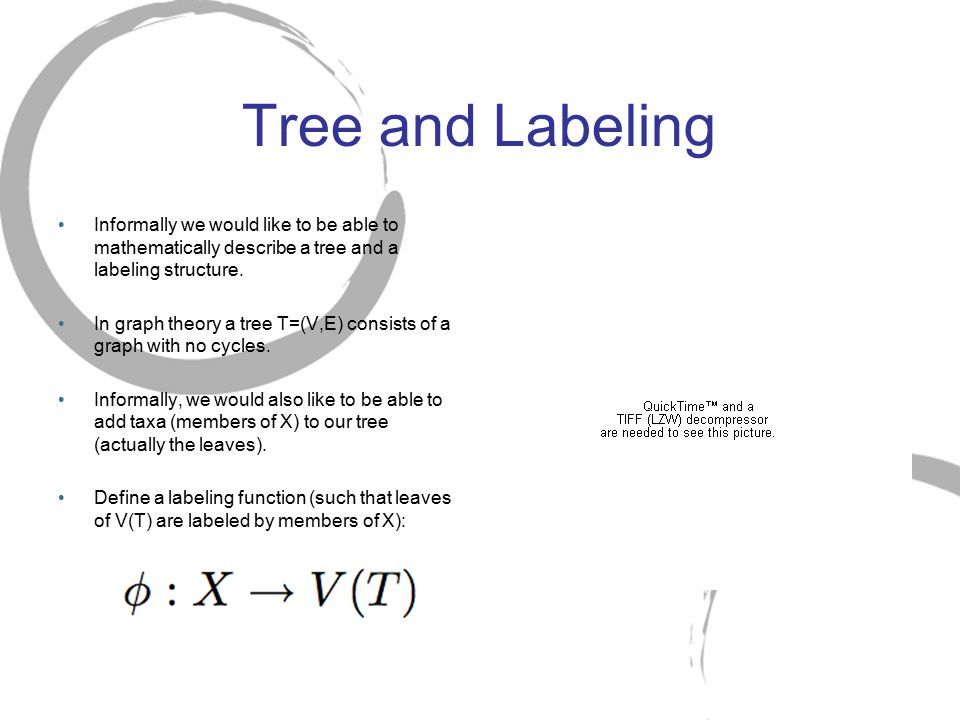 Tree and Labeling Informally we would like to be able to mathematically describe a tree and a labeling structure. In graph theory a tree T=(V,E) consi