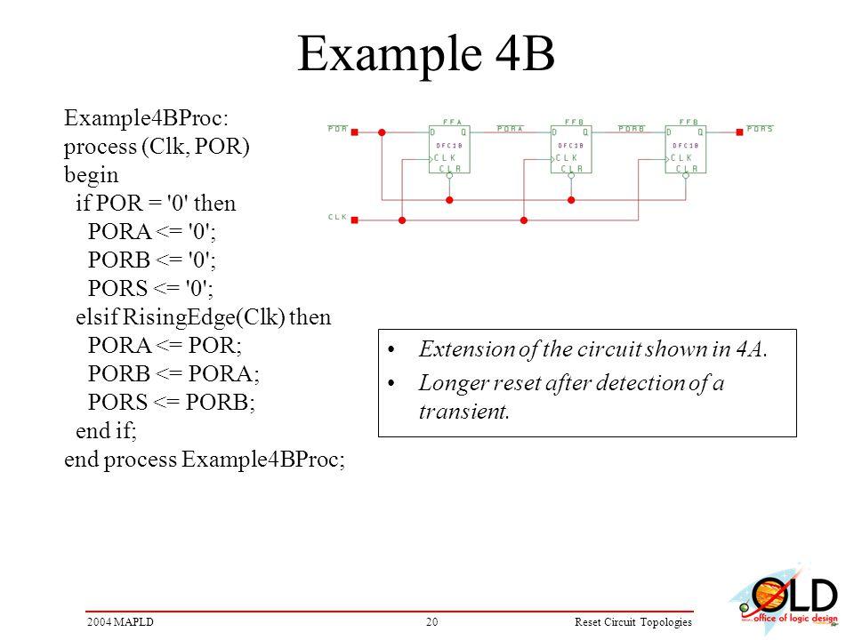 202004 MAPLDReset Circuit Topologies Example 4B Example4BProc: process (Clk, POR) begin if POR = 0 then PORA <= 0 ; PORB <= 0 ; PORS <= 0 ; elsif RisingEdge(Clk) then PORA <= POR; PORB <= PORA; PORS <= PORB; end if; end process Example4BProc; Extension of the circuit shown in 4A.