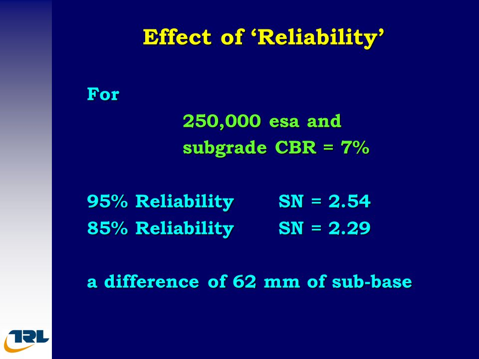 Effect of 'Reliability' For 250,000 esa and subgrade CBR = 7% 95% ReliabilitySN = 2.54 85% ReliabilitySN = 2.29 a difference of 62 mm of sub-base