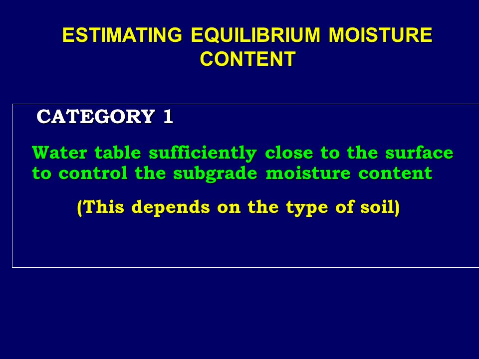 ESTIMATING EQUILIBRIUM MOISTURE CONTENT CATEGORY 1 CATEGORY 1 Water table sufficiently close to the surface to control the subgrade moisture content (