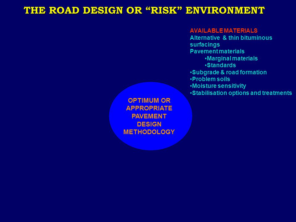 "THE ROAD DESIGN OR ""RISK"" ENVIRONMENT AVAILABLE MATERIALS Alternative & thin bituminous surfacings Pavement materials Marginal materials Standards Sub"