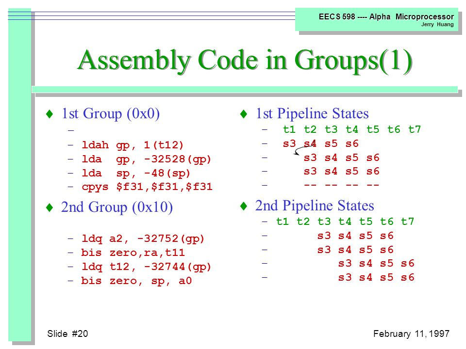 Slide #19February 11, 1997 EECS 598 ---- Alpha Microprocessor Jerry Huang Code Analysis Bubble Sort Compiler Option: cc -newc -O4 -c -o bubble.o bubble.c