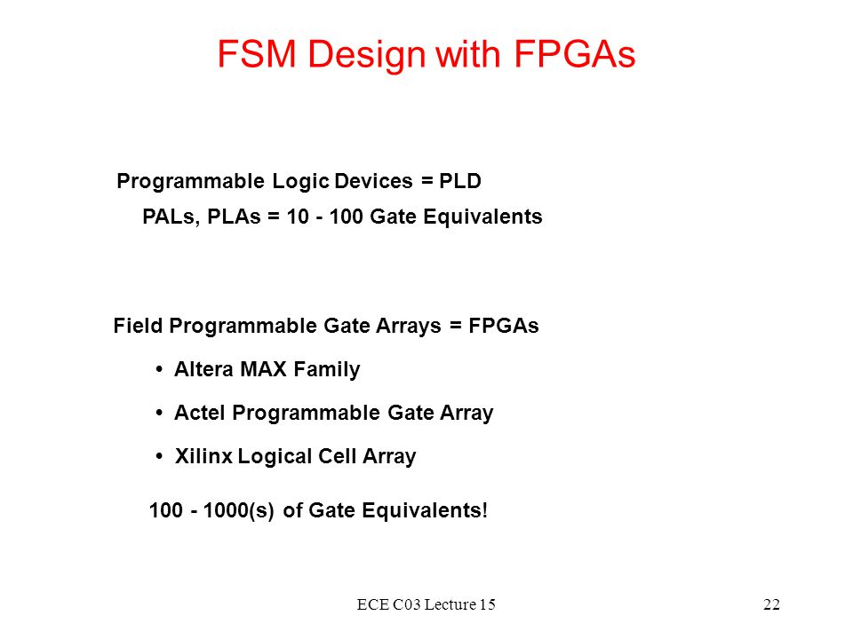 ECE C03 Lecture 1522 FSM Design with FPGAs Programmable Logic Devices = PLD Field Programmable Gate Arrays = FPGAs Altera MAX Family Actel Programmabl