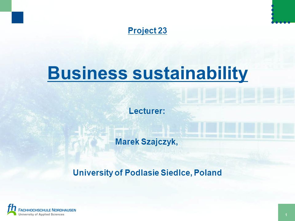 1 Project 23 Business sustainability Lecturer: Marek Szajczyk, University of Podlasie Siedlce, Poland