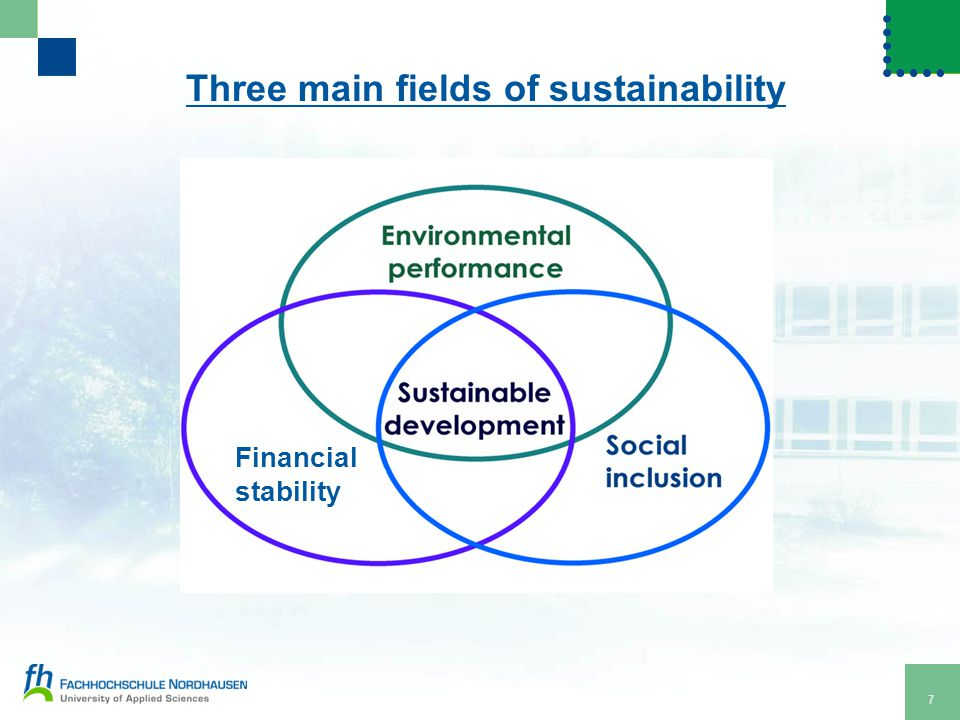 8 Social sustainability Longterm thinking to guarantee societies to persist and to keep or rise their standard of living.