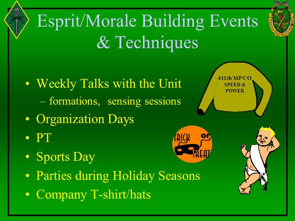 Esprit/Morale Building Events & Techniques Weekly Talks with the Unit –formations, sensing sessions Organization Days PT Sports Day Parties during Hol