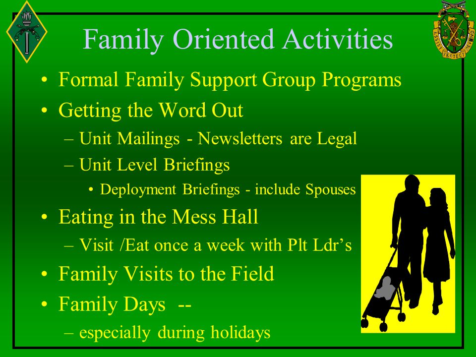 Family Oriented Activities Formal Family Support Group Programs Getting the Word Out –Unit Mailings - Newsletters are Legal –Unit Level Briefings Deployment Briefings - include Spouses Eating in the Mess Hall –Visit /Eat once a week with Plt Ldr's Family Visits to the Field Family Days -- –especially during holidays