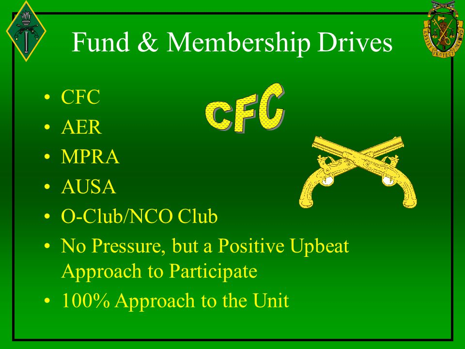 Fund & Membership Drives CFC AER MPRA AUSA O-Club/NCO Club No Pressure, but a Positive Upbeat Approach to Participate 100% Approach to the Unit