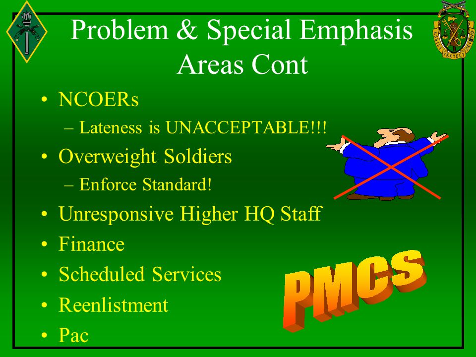 Problem & Special Emphasis Areas Cont NCOERs –Lateness is UNACCEPTABLE!!.