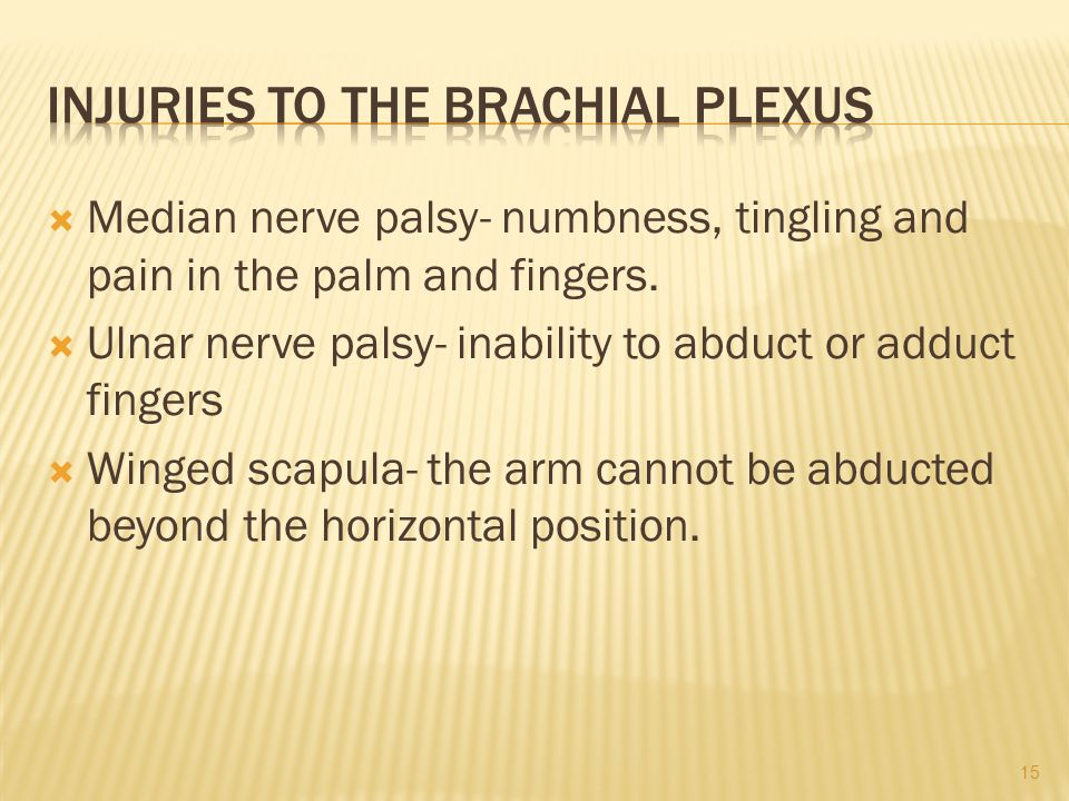  Median nerve palsy- numbness, tingling and pain in the palm and fingers.