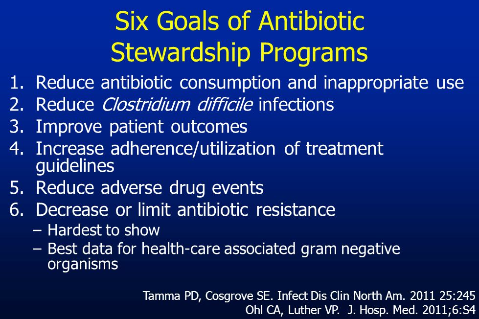 Six Goals of Antibiotic Stewardship Programs 1.Reduce antibiotic consumption and inappropriate use 2.Reduce Clostridium difficile infections 3.Improve