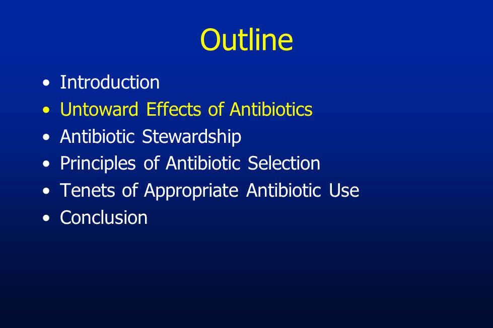 Six Goals of Antibiotic Stewardship Programs 1.Reduce antibiotic consumption and inappropriate use 2.Reduce Clostridium difficile infections 3.Improve patient outcomes 4.Increase adherence/utilization of treatment guidelines 5.Reduce adverse drug events 6.Decrease or limit antibiotic resistance –Hardest to show –Best data for health-care associated gram negative organisms Tamma PD, Cosgrove SE.