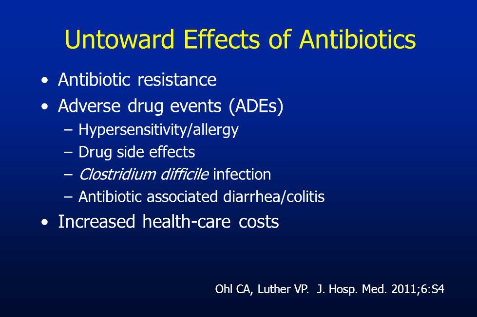 Untoward Effects of Antibiotics Antibiotic resistance Adverse drug events (ADEs) –Hypersensitivity/allergy –Drug side effects –Clostridium difficile i