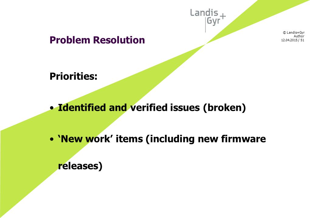 © Landis+Gyr Author 12.04.2015 / 51 Problem Resolution Priorities: Identified and verified issues (broken) 'New work' items (including new firmware re
