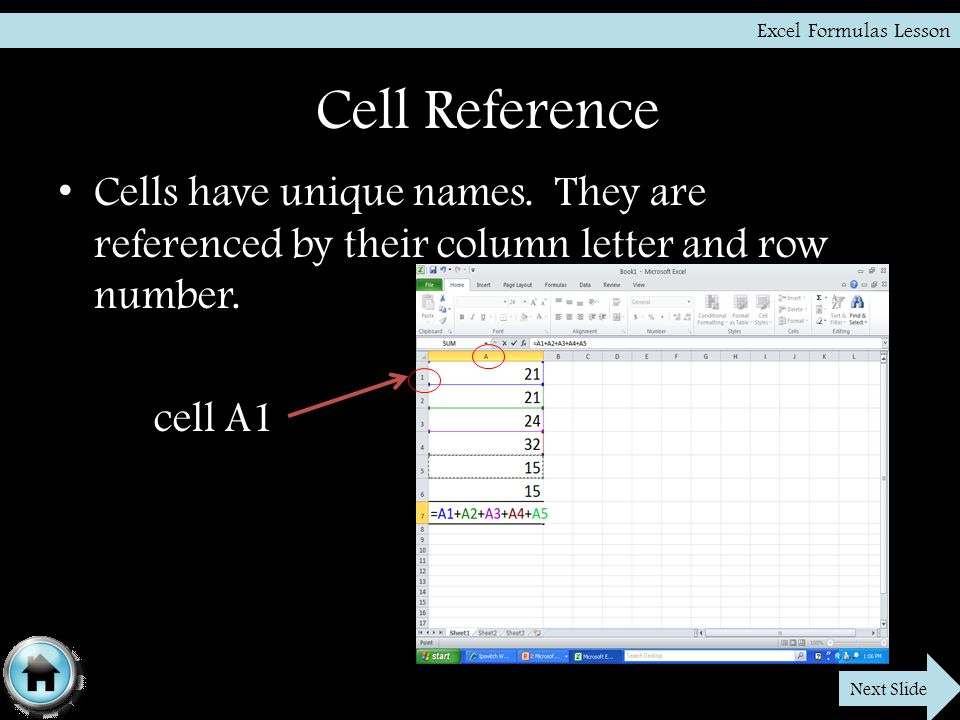 Cell Reference Cells have unique names. They are referenced by their column letter and row number.