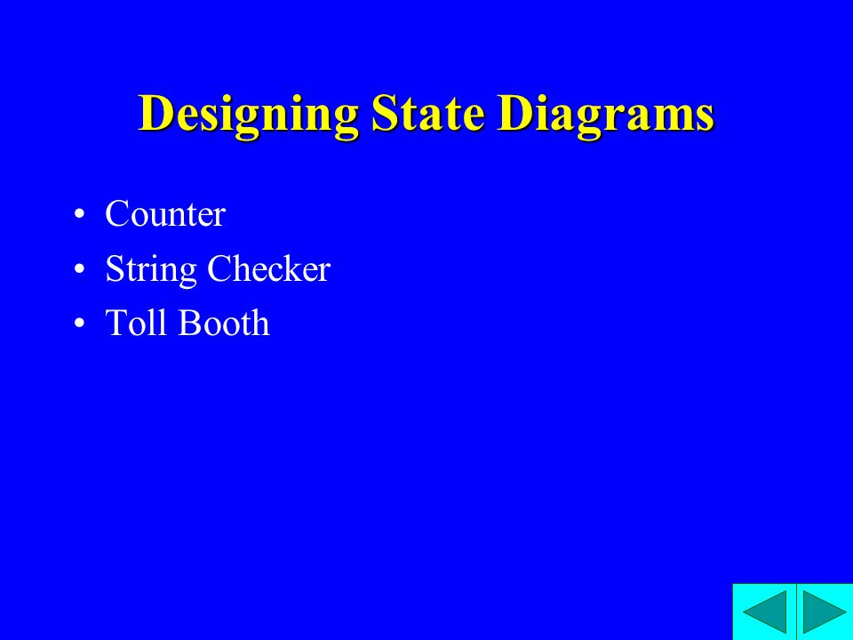 Designing State Diagrams Counter String Checker Toll Booth