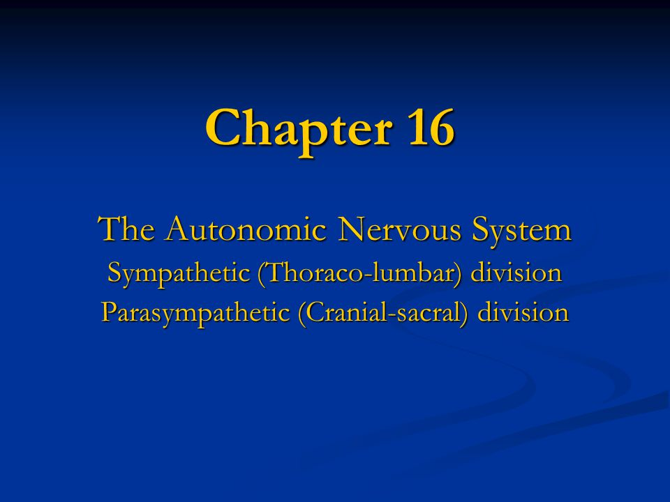 Chapter 16 The Autonomic Nervous System Sympathetic (Thoraco-lumbar) division Parasympathetic (Cranial-sacral) division