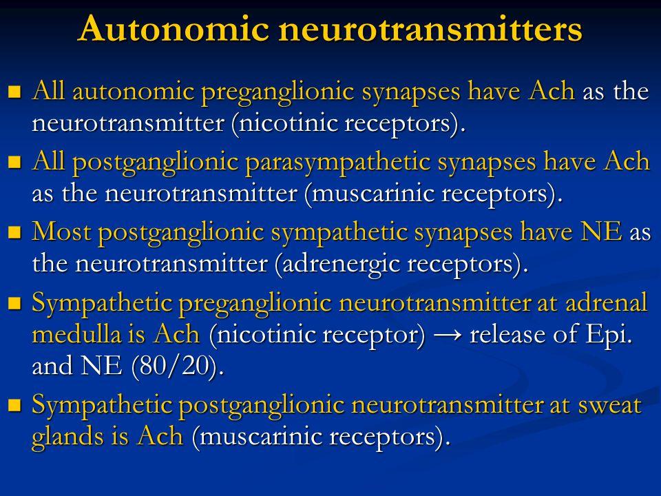 Autonomic neurotransmitters All autonomic preganglionic synapses have Ach as the neurotransmitter (nicotinic receptors). All autonomic preganglionic s