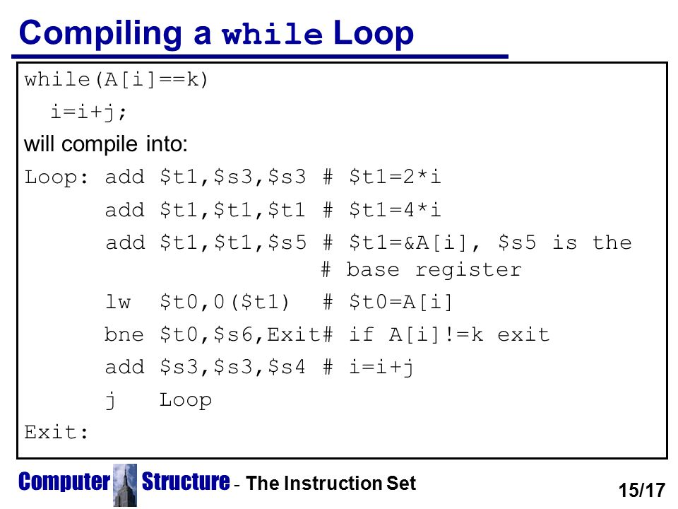 Computer Structure - The Instruction Set Compiling a while Loop while(A[i]==k) i=i+j; will compile into: Loop: add $t1,$s3,$s3 # $t1=2*i add $t1,$t1,$