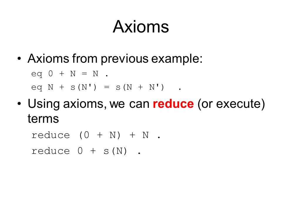Axioms Axioms from previous example: eq 0 + N = N.