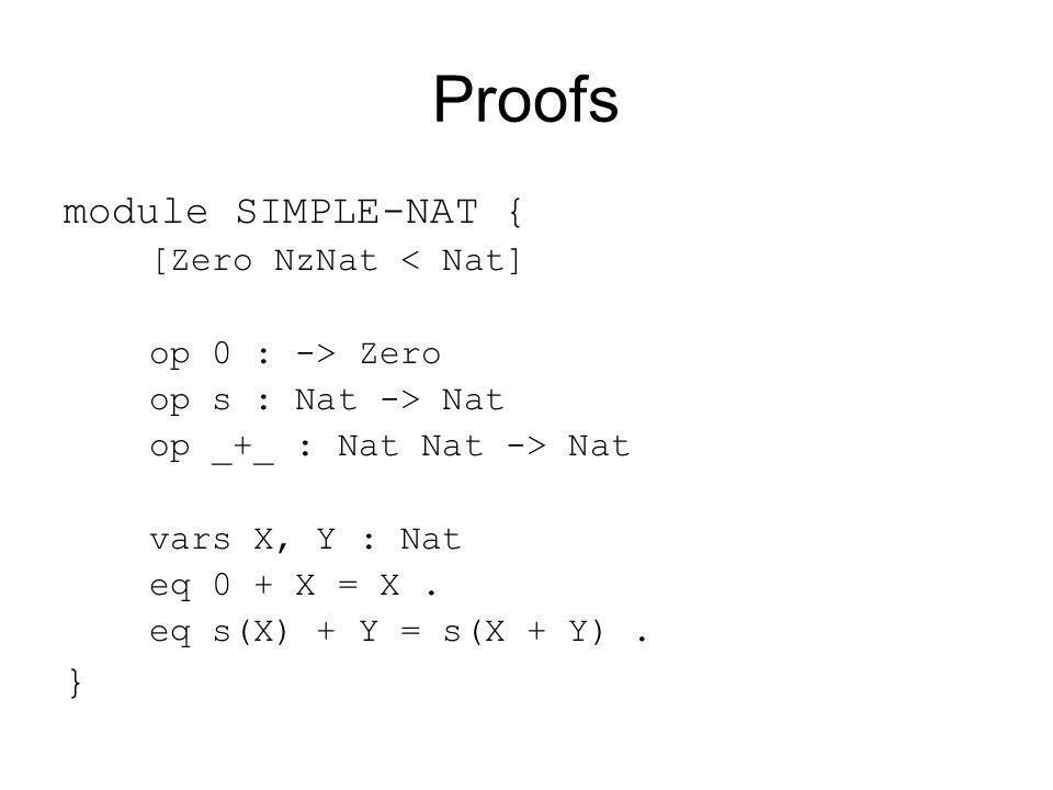 Proofs module SIMPLE-NAT { [Zero NzNat < Nat] op 0 : -> Zero op s : Nat -> Nat op _+_ : Nat Nat -> Nat vars X, Y : Nat eq 0 + X = X.