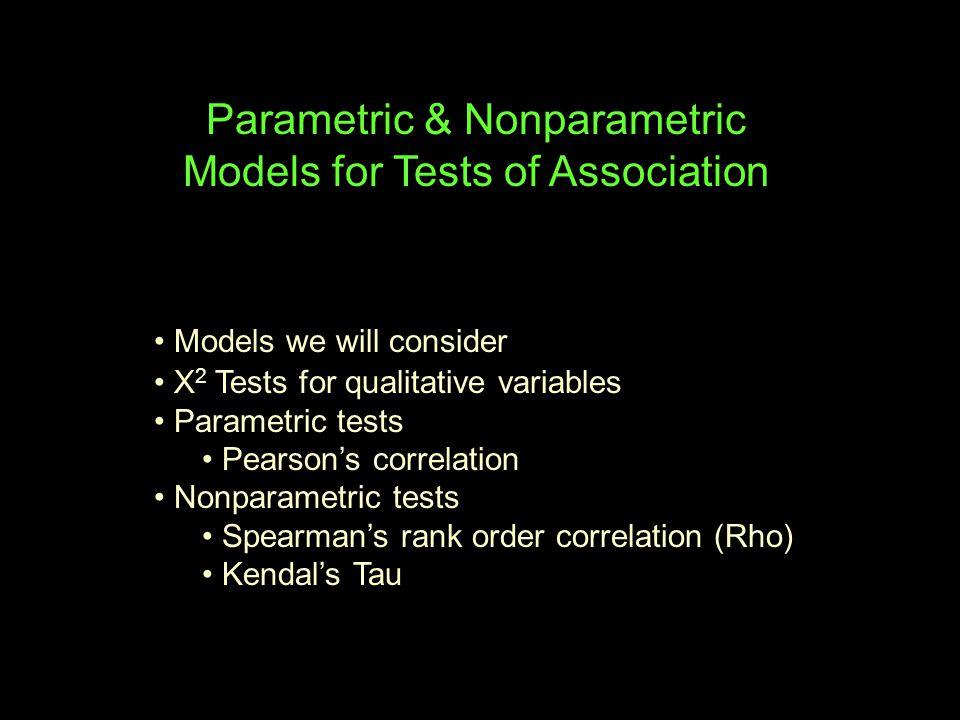 Statistics We Will Consider Parametric Nonparametric DV Categorical Interval/ND Ordinal/~ND univariate stats mode, #cats mean, std median, IQR univariate tests gof X 2 1-grp t-test 1-grp Mdn test association X 2 Pearson's r Spearman's r 2 bg X 2 t- / F-test M-W K-W Mdn k bg X 2 F-test K-W Mdn 2wg McNem Crn's t- / F-test Wil's Fried's kwg Crn's F-test Fried's M-W -- Mann-Whitney U-Test Wil's -- Wilcoxin's Test Fried's -- Friedman's F-test K-W -- Kruskal-Wallis Test Mdn -- Median Test McNem -- McNemar's X 2 Crn's – Cochran's Test