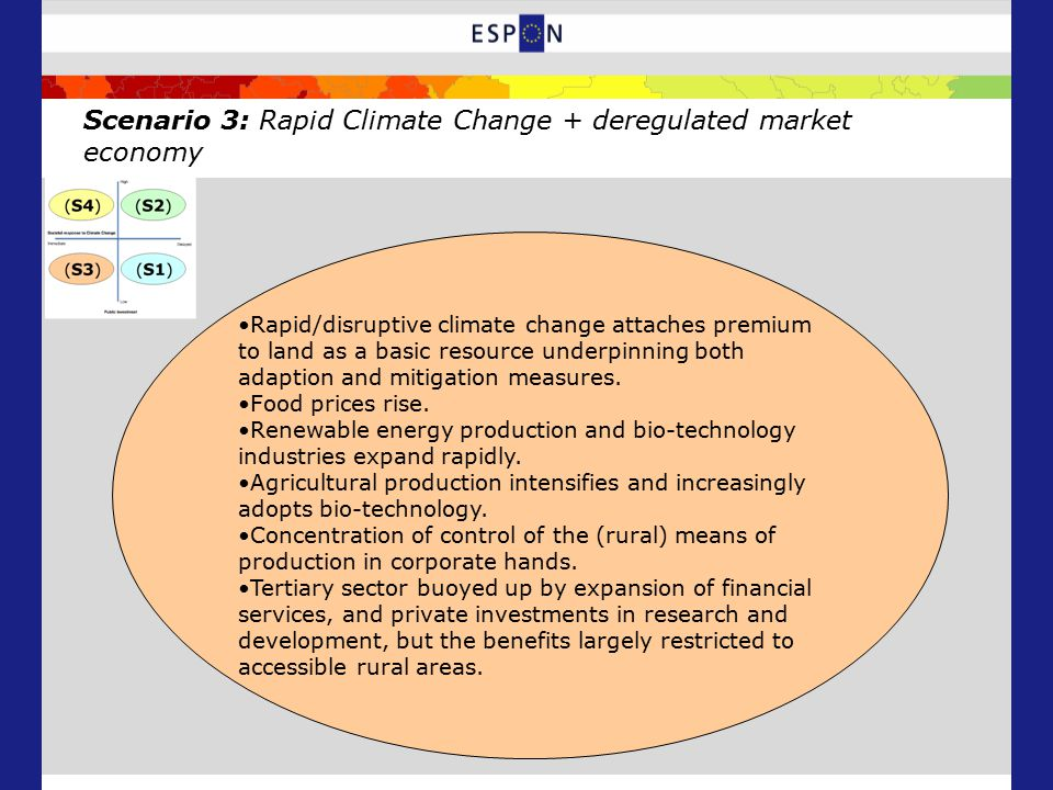Scenario 3: Rapid Climate Change + deregulated market economy Rapid/disruptive climate change attaches premium to land as a basic resource underpinning both adaption and mitigation measures.