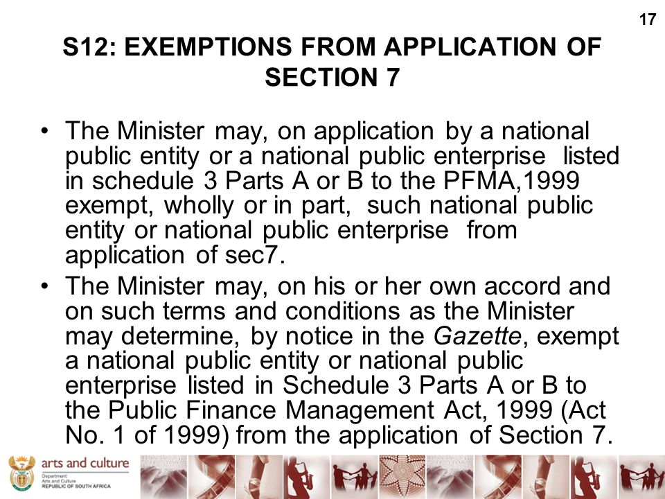 S12: EXEMPTIONS FROM APPLICATION OF SECTION 7 The Minister may, on application by a national public entity or a national public enterprise listed in s