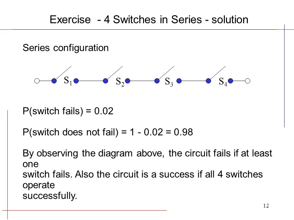 12 Series configuration P(switch fails) = 0.02 P(switch does not fail) = 1 - 0.02 = 0.98 By observing the diagram above, the circuit fails if at least one switch fails.