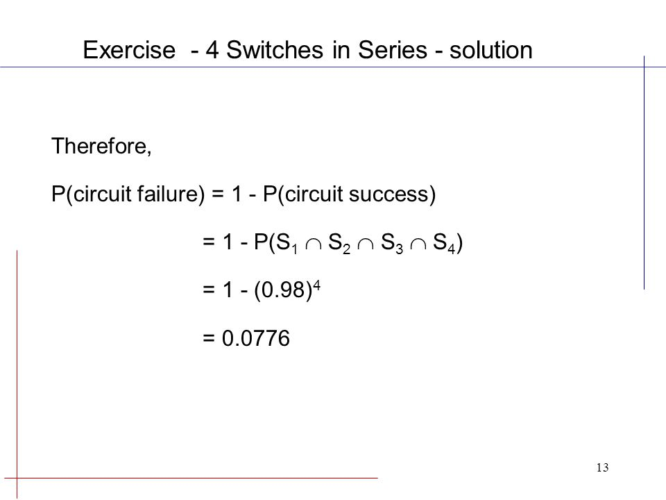 13 Therefore, P(circuit failure) = 1 - P(circuit success) = 1 - P(S 1  S 2  S 3  S 4 ) = 1 - (0.98) 4 = 0.0776 Exercise - 4 Switches in Series - solution