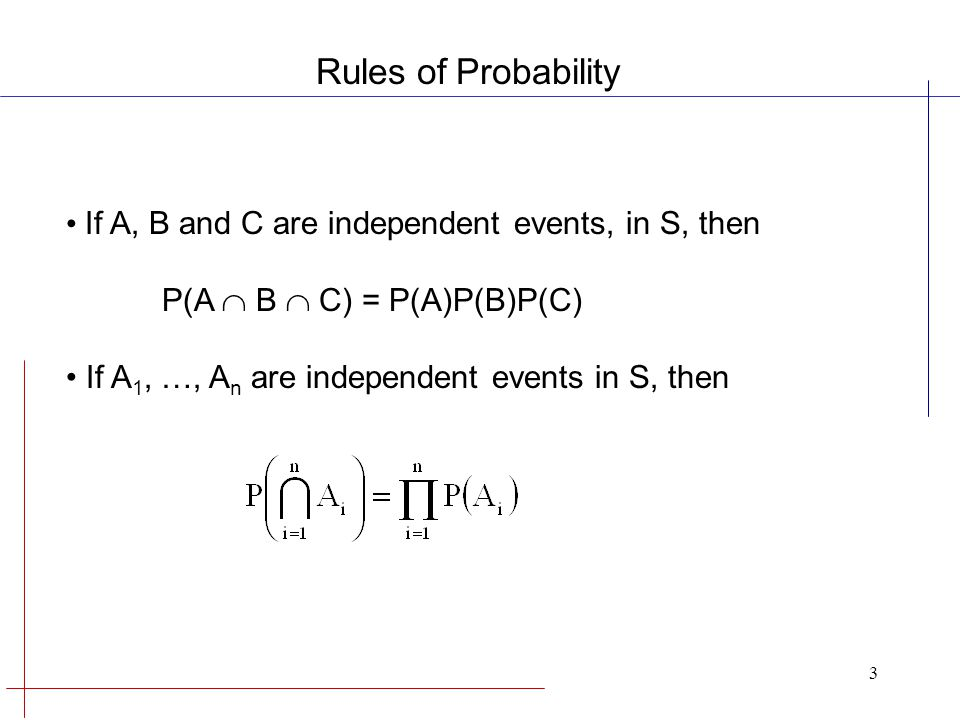 4 Mutually Exclusive Events If A and B are any two events in S, then P(A  B) = 0 Complementary Events If A is the complement of A, then P(A ) = 1 - P(A) Rules of Probability