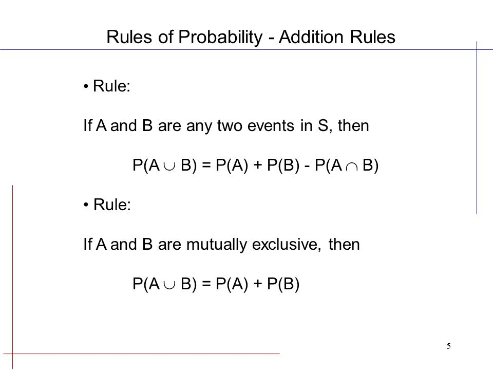 5 Rule: If A and B are any two events in S, then P(A  B) = P(A) + P(B) - P(A  B) Rule: If A and B are mutually exclusive, then P(A  B) = P(A) + P(B) Rules of Probability - Addition Rules